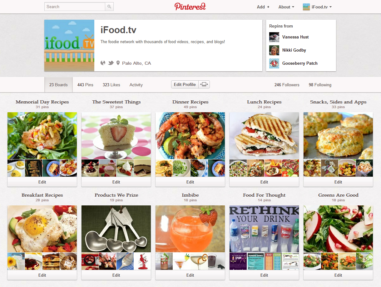 iFood.tv Pinboards
