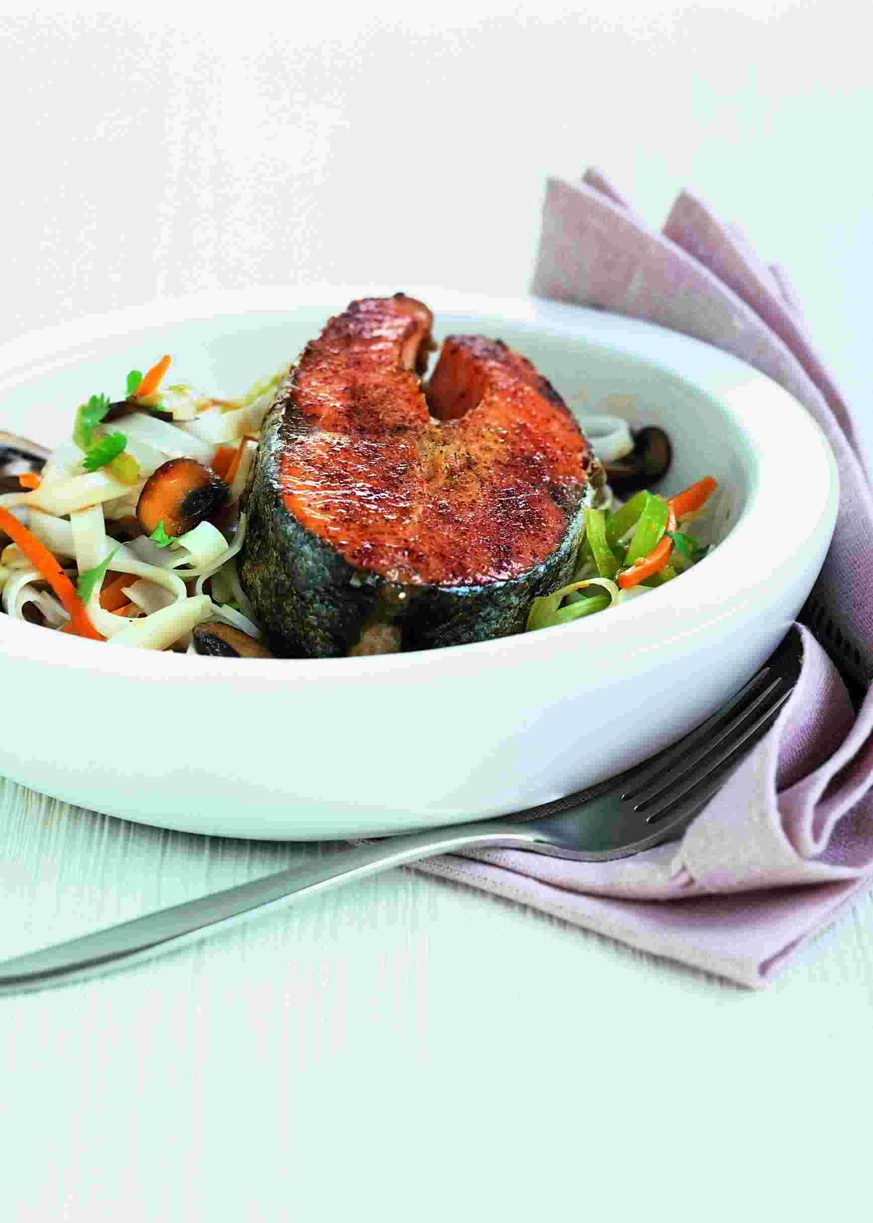 Asian Salmon with Rice Noodles picture