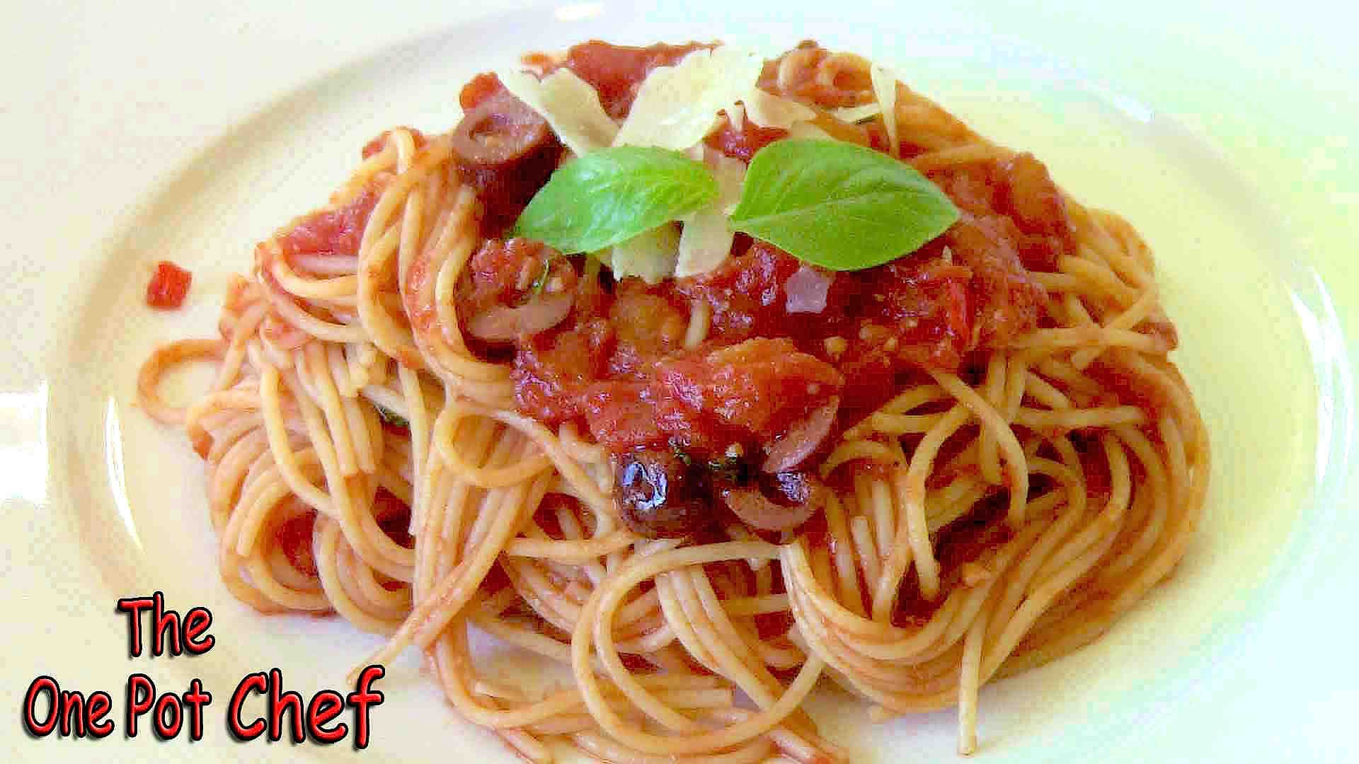 Spaghetti Puttanesca Recipe Video by OnePotChefShow | iFood.tv