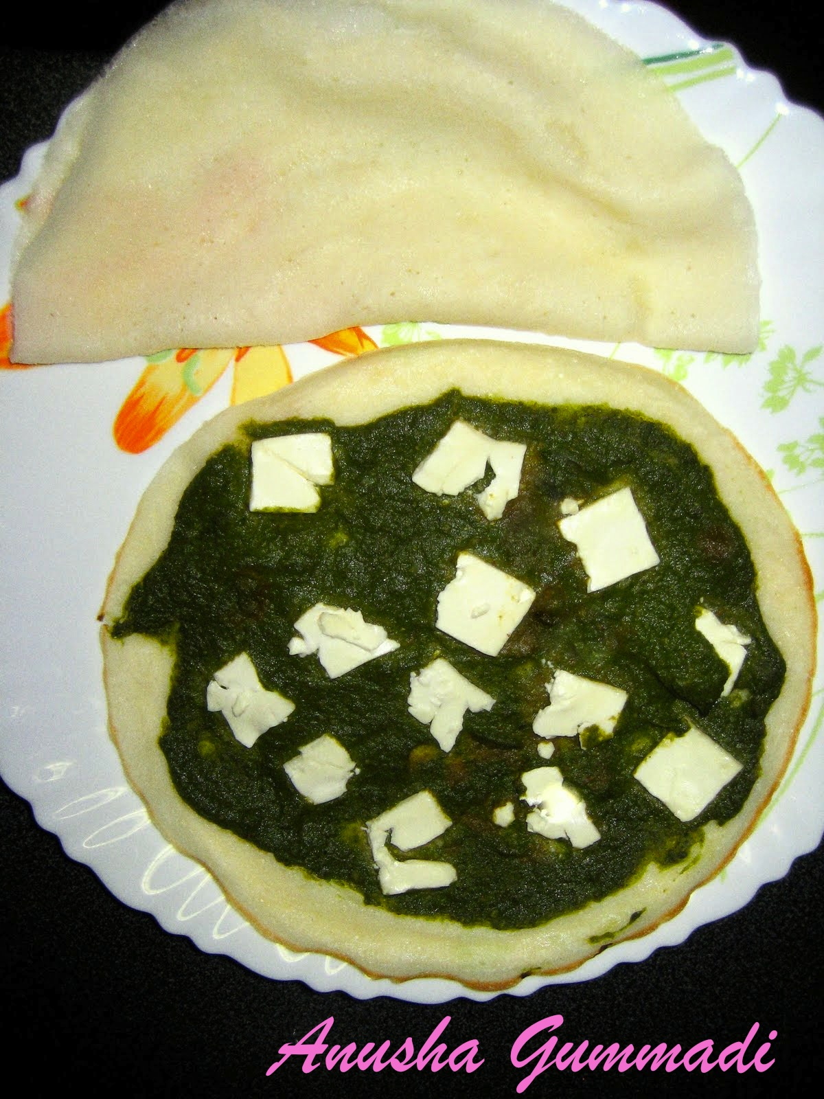 Dosa with Masala palak and Feta cheese topping picture