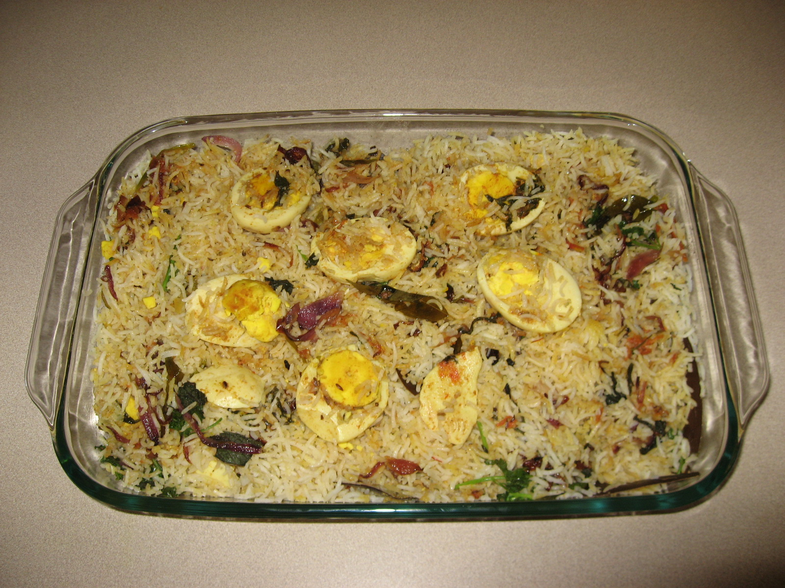 Egg biryani prepared for kids