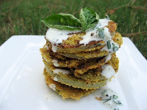 Fried Green Tomatoes with Crème Fraîche Drizzle picture