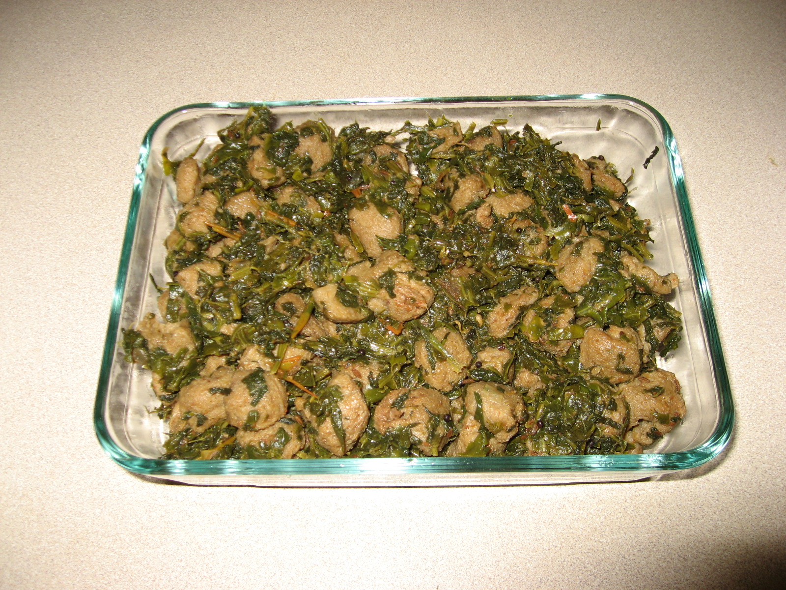 Soy Chunks with Spinach picture