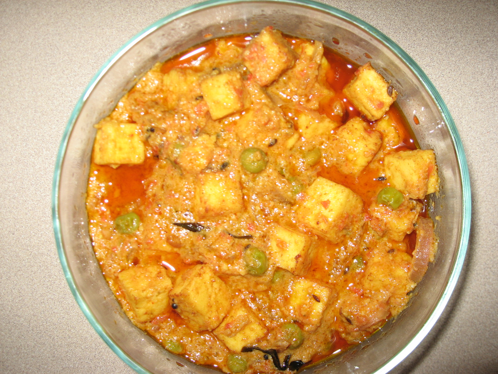 Tangy Paneer with Green Peas picture