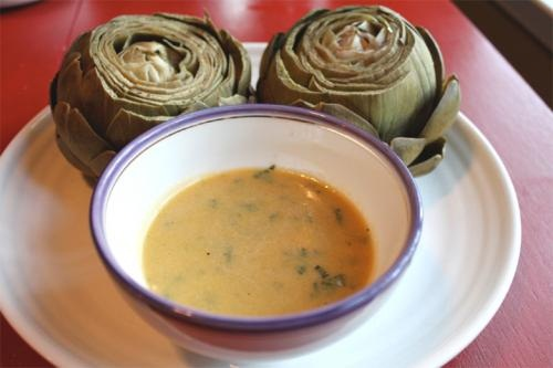 Artichokes With Garlic Saffron Sauce picture