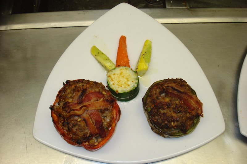 pepper stuffed with beef topped with bacon.. picture