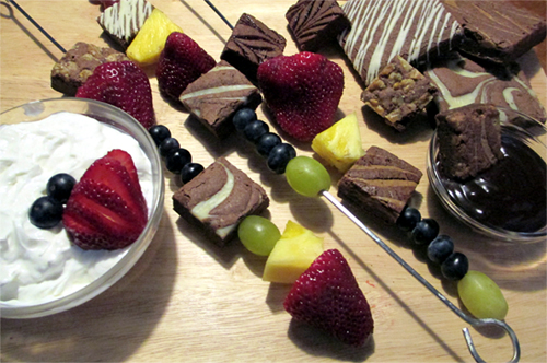 Brownie And Fruit Kebabs With Dip picture