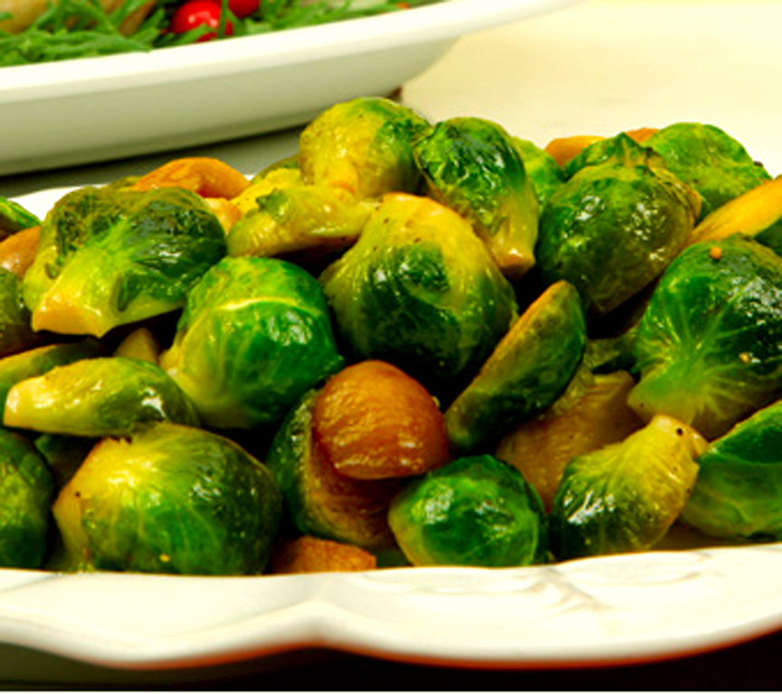 Sauteed Brussels Sprouts and Water Chestnuts picture