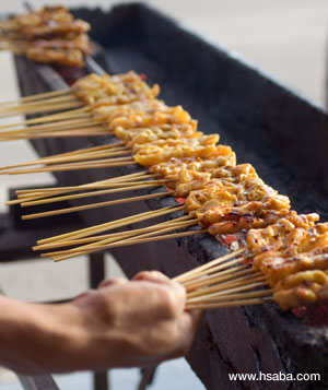 chicken satay with chunky peanut sauce picture