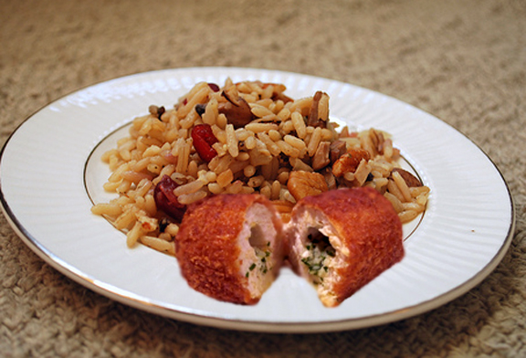 Savory Chicken Kiev With Pecan Wild Rice picture