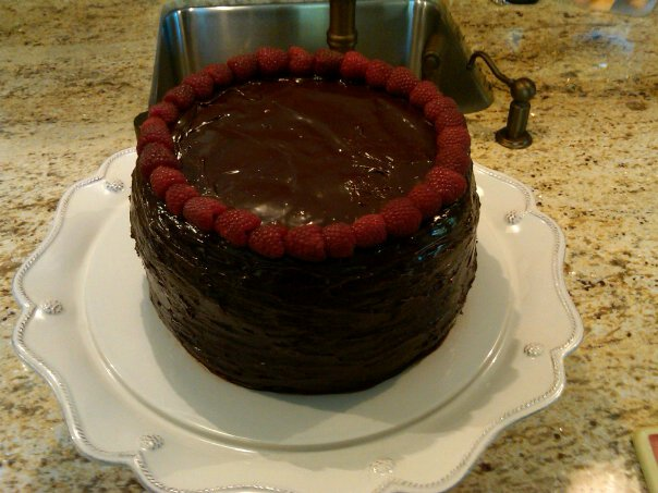Chocolate Ganache Cake with Raspberries picture