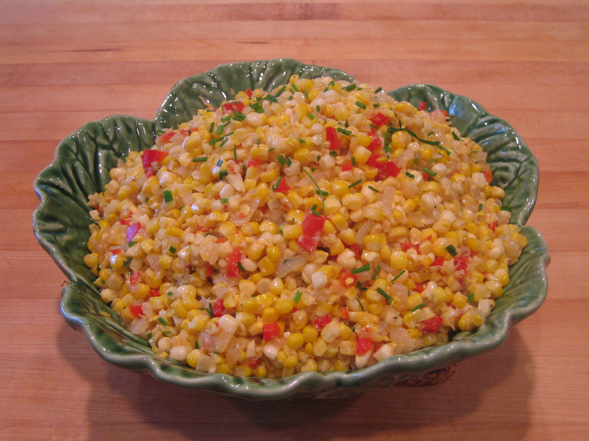 Sautéed Fresh Corn With Onions and Sweet Peppers and Natural Corn Cream picture