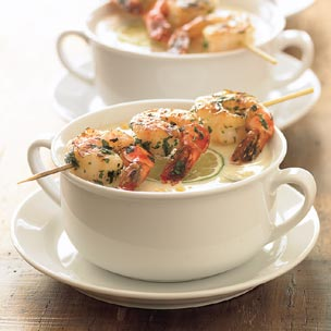 Corn Chowder with Grilled Shrimp picture