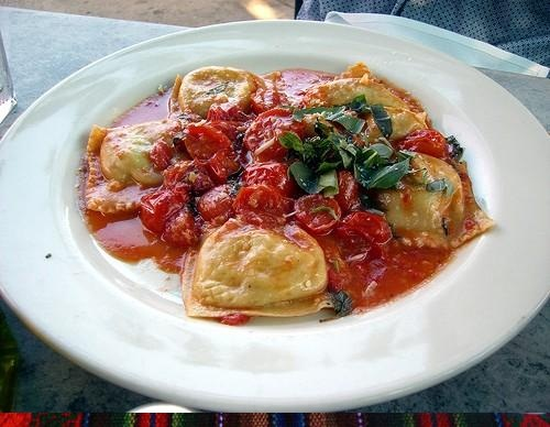 Goat Cheese Ravioli With Garlic Tomato Sauce picture