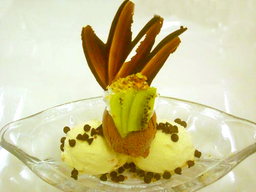 Avocado Pistachio Ice Cream with Chocolate Sauce picture