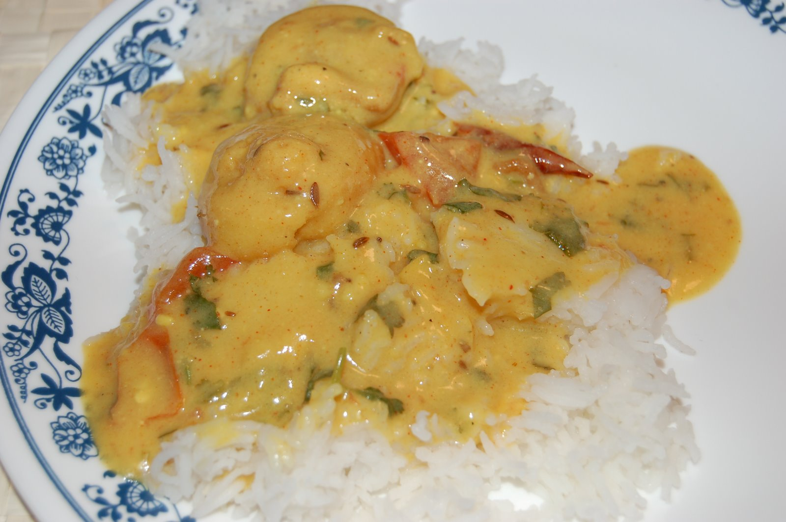 Kadhi Bari Served With Rice