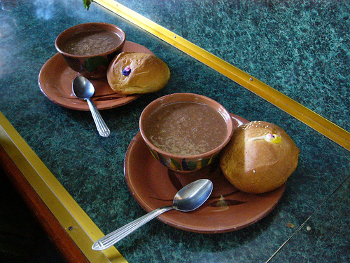 "Champurrado seved with sweet bun usually served on ""The Day of the Dead"""