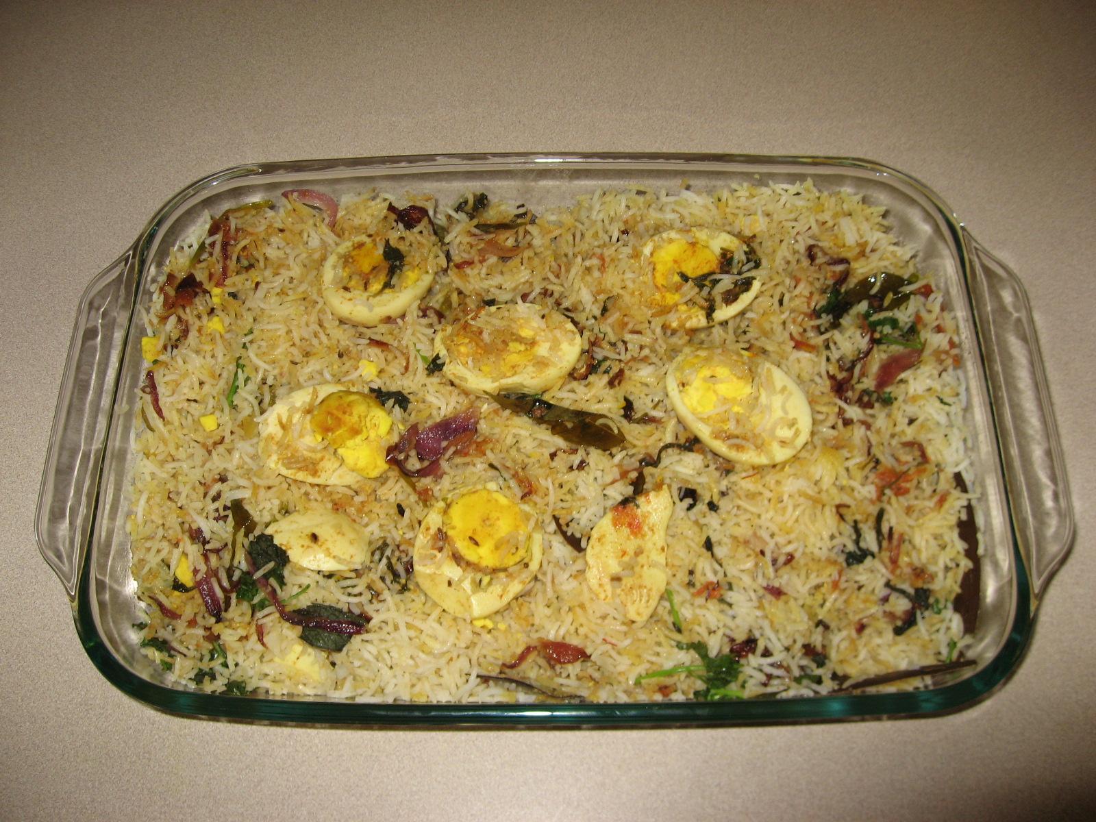 Egg biryani prepared for kids