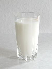 A glass of cow's milk.