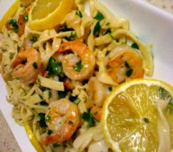 Shrimp scampi over pasta