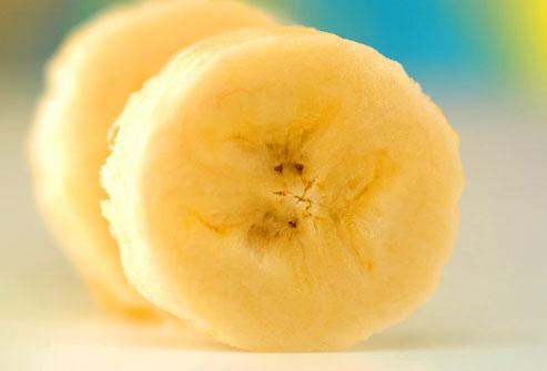 Steamed banana slices