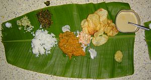 Lunch served on a plantain leaf