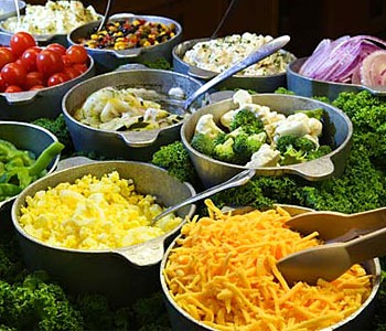 A fresh salad bar at home
