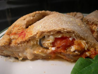 Delicious calzone served as a breakfast item