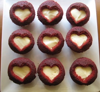 Cut Out Heart Cupcakes