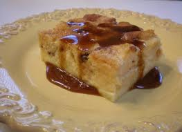 eating bread pudding