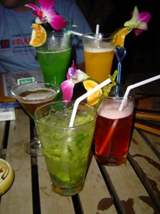Variety of drinks in a stag party