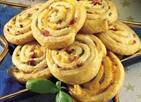Swiss and bacon pinwheel appetizers