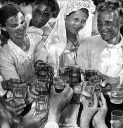 Raising vodka during celebration