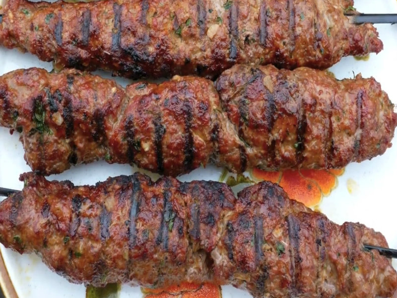 Grilled Ground Meat On Skewers With Middle Eastern Spices ...