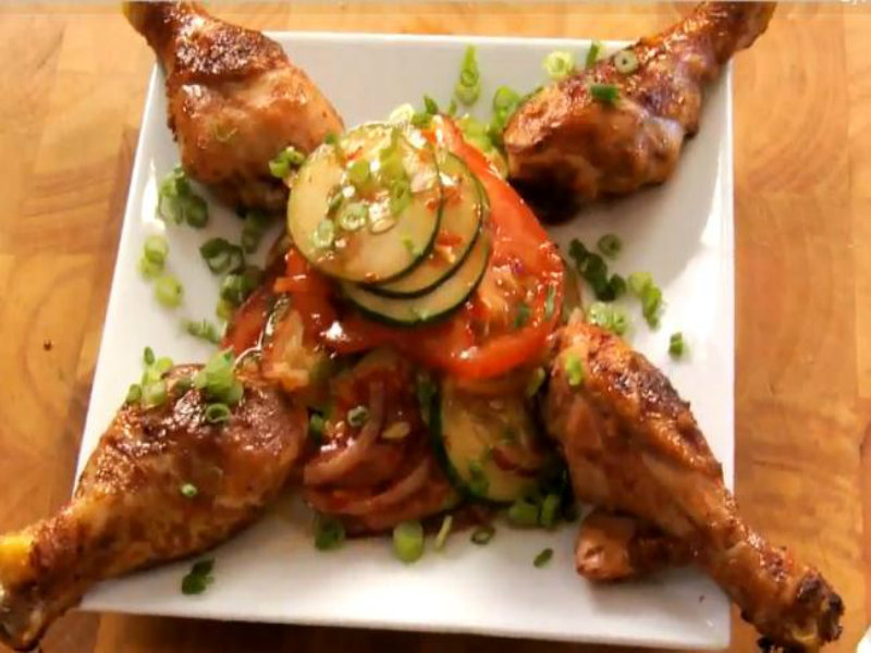 Honey And Hoisin Glazed Drumsticks With Asian Zesty Salad Recipe Video ...