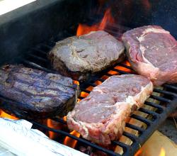 Cook meat on gas grill