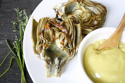 Cook artichoke on a gas grill