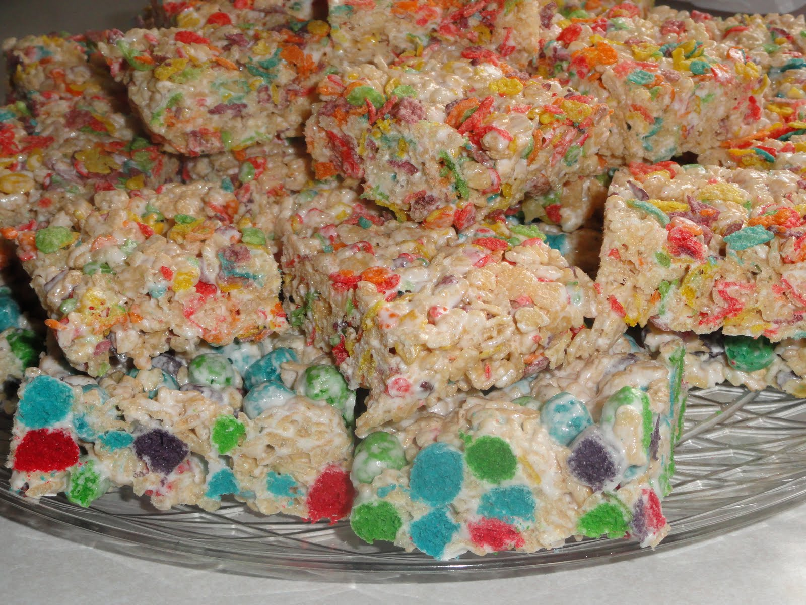Half fruity pebbles used in krispie treats