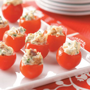 Herb & Cheese Filled Cherry Tomatoes - Herbed Cheese Starters