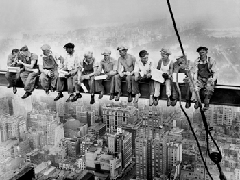 Construction Workers Lunching on a Crossbeam - 1932  Click to view large image.