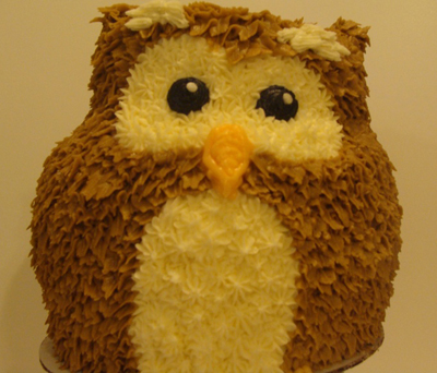 Hooting owl cake
