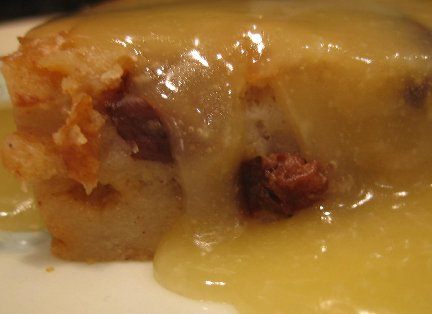 Bread pudding served with delicious bourbon sauce