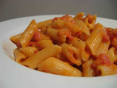 A zesty dish of penne all vodka