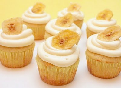 Banana Cupcakes With Orange Cream Cheese Glaze
