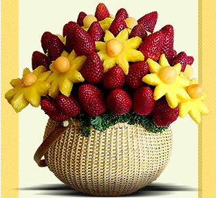 Fruit Centerpieces are fresh, festive and celebrative alternatives to traditional flower bouquets