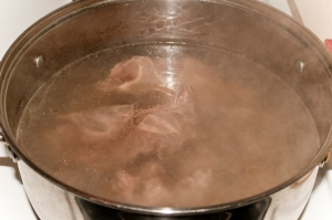 Cleaning meat in water