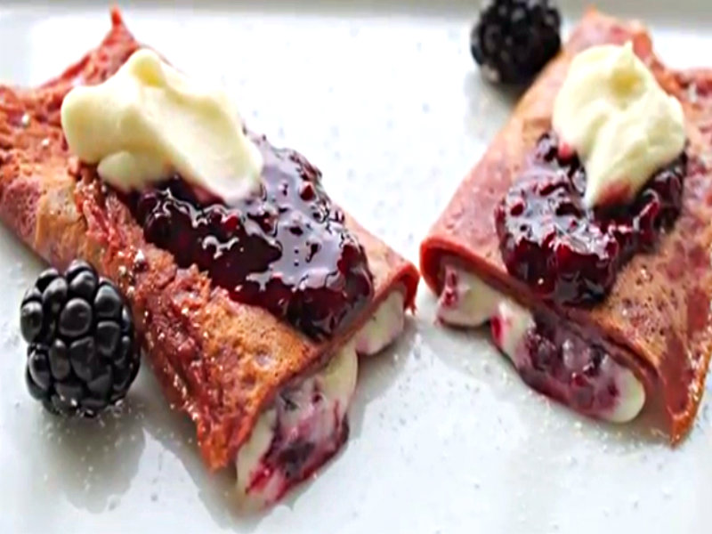 Cocoa Crepes With Mascarpone And Blackberries Recipes — Dishmaps