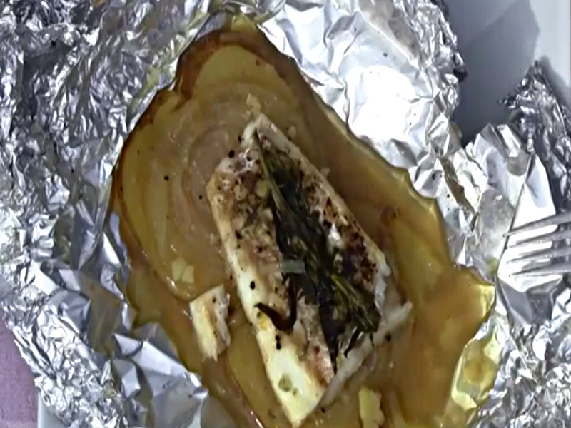 Grilling fish in aluminum foil packets recipe video by for Grill fish in foil