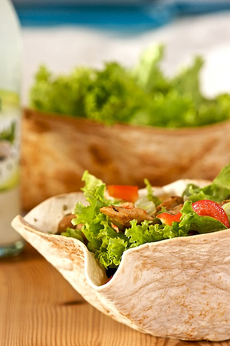 Freshly Baked Tortilla bowl with a serving of green salad