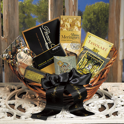 A gourmet food basket for funeral food gift